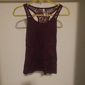 Aeropostale burgundy and lace tank top